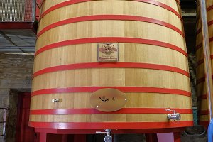 Large wooden tub where the grapes