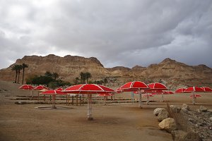 The beach canopies on deserted coast