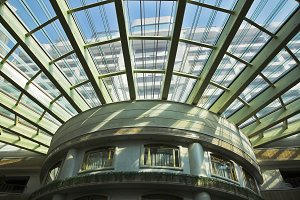 Glass roof in magnificent hotel