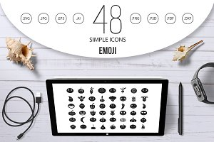 Emoji icon set, simple style