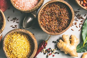 Healthy ingredients and spices on ru