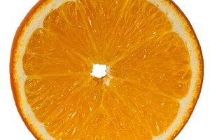 cut an orange close-up on a white ba
