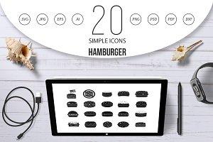 Hamburger icon set, simple style