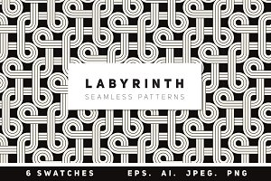 Labyrinth Seamless Patterns Set