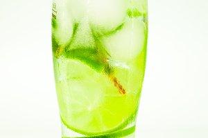 cold drink mojito drops on a glass o