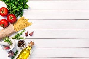 Fresh organic ingridients, pasta spa