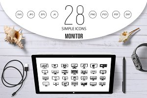 Monitor icon set, simple style