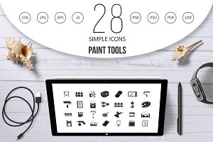 Paint tools icon set, simple style
