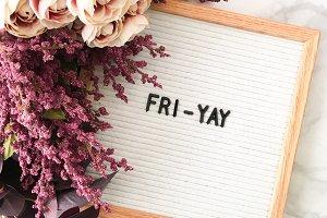 Letter Board Fri-Yay Stock Photo