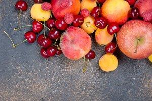 mixed many different seasonal fruits