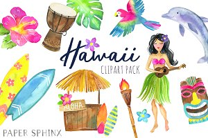 Watercolor Hawaii Clipart