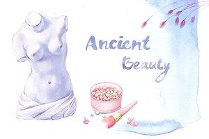 Ancient beauty watercolour cliparts