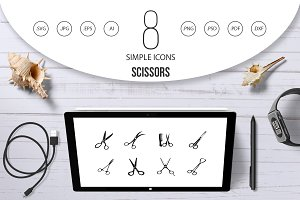 Scissors icon set, simple style