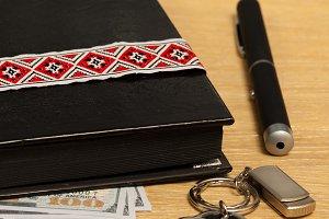 diary notebook, pen, keychain flash