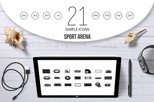 Sport arena icon set, simple style