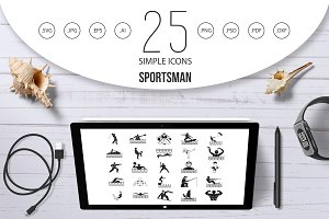 Sportsman icon set, simple style