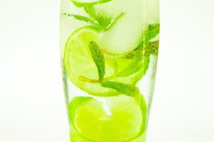 cold drink mojito drops on a glass o