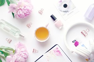 Styled photo - peonies & relax