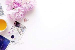 Styled photo - peonies & photos