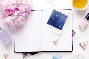 Styled photo - peonies & journal
