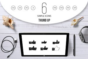 Thumb up icon set, simple style