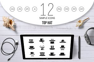 Top hat icon set, simple style