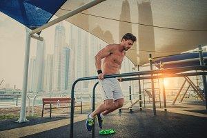 Athlete training outdoors