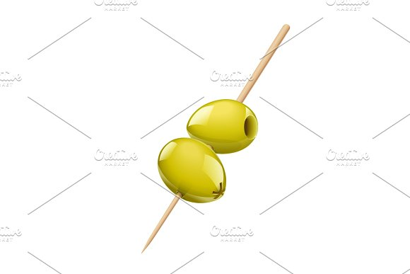 Two green olive with stick