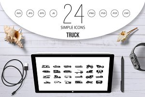 Truck icon set, simple style