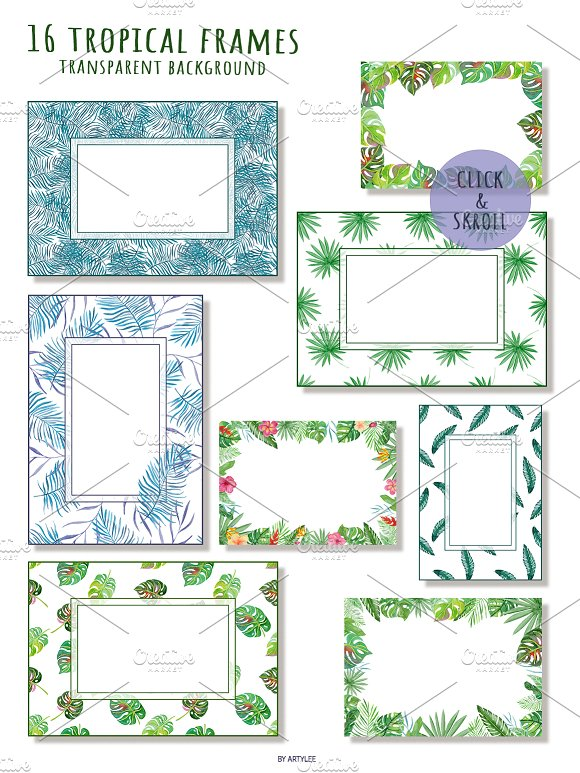 Tropical Forest Watercolor Set in Illustrations - product preview 3