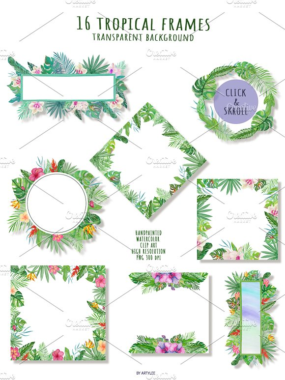 Tropical Forest Watercolor Set in Illustrations - product preview 4