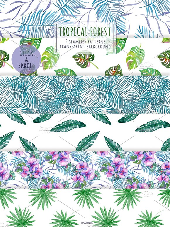 Tropical Forest Watercolor Set in Illustrations - product preview 5