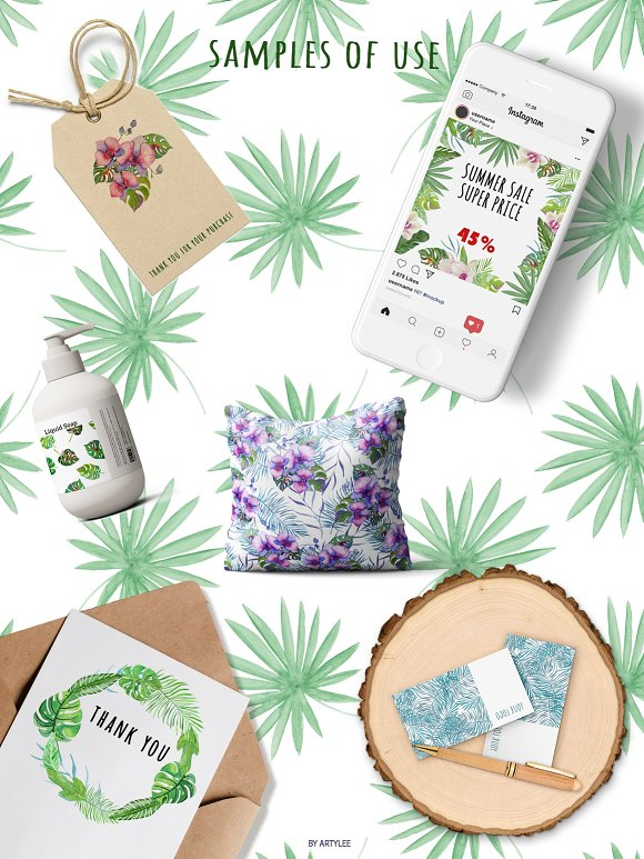 Tropical Forest Watercolor Set in Illustrations - product preview 6