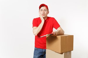 Delivery man in red uniform isolated