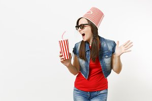 Young funny woman in 3d glasses with