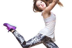 beautiful athletic girl dancing