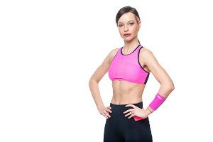 Fitness woman portrait isolated on