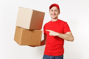 Delivery young man in red uniform is