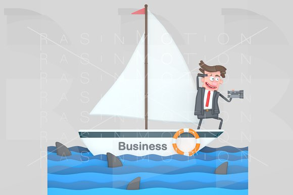 Businessman on a sailboat on the sea