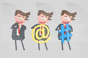 Businessman holding internet symbols