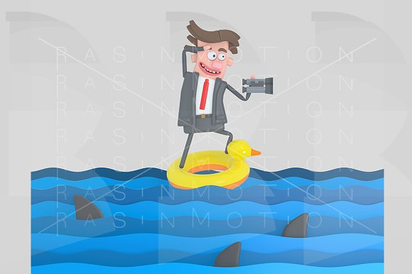 Businessman on a float on the sea
