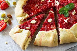 Fresh homemade strawberries galette