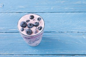 Smoothies of blueberries. Smoothies.