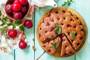 Delicious dessert plum pie, sweet de