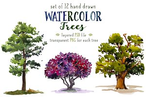 Set of 12 watercolor trees