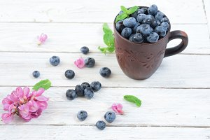 Summer berries. Blueberries and mint