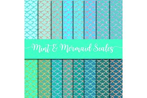 Mint & Mermaid Scales Digital Paper