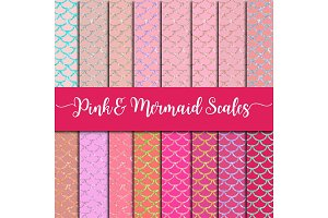 Pink & Mermaid Scales Digital Paper