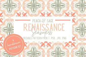 Peaches and Sage Seamless Patterns