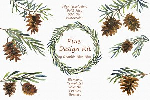Pine Design Kit - Watercolor Clipart